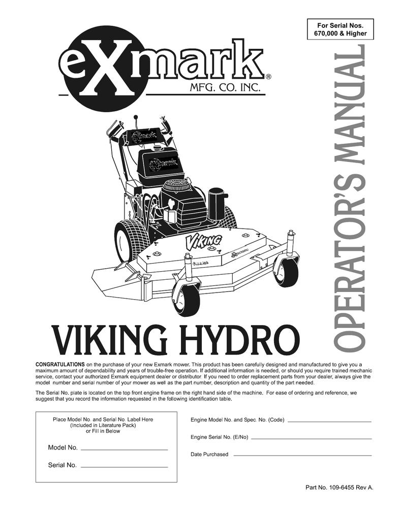 Exmark VH15KA362 User's Manual | manualzz com
