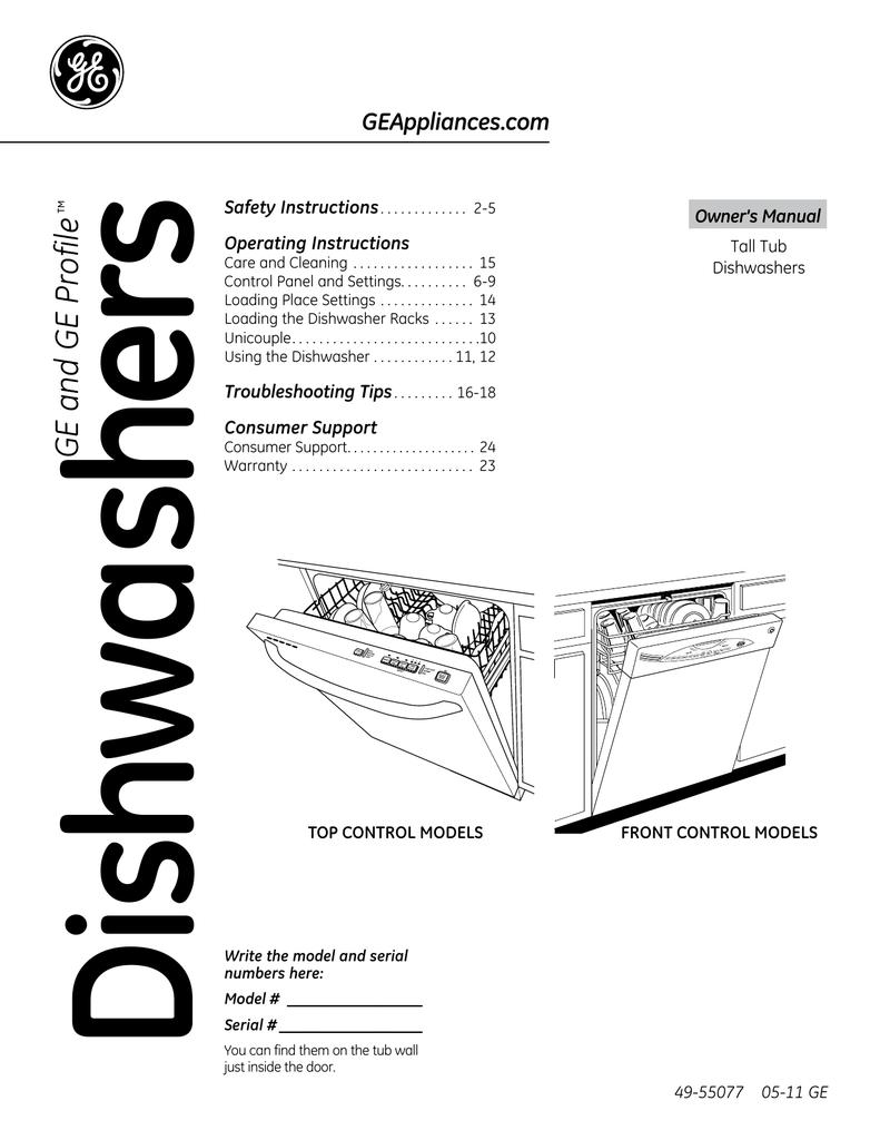 ge general electric dishwasher 49 55077 user s manual rh manualzz com GE Profile Dishwasher Door GE Profile Dishwasher Not Working
