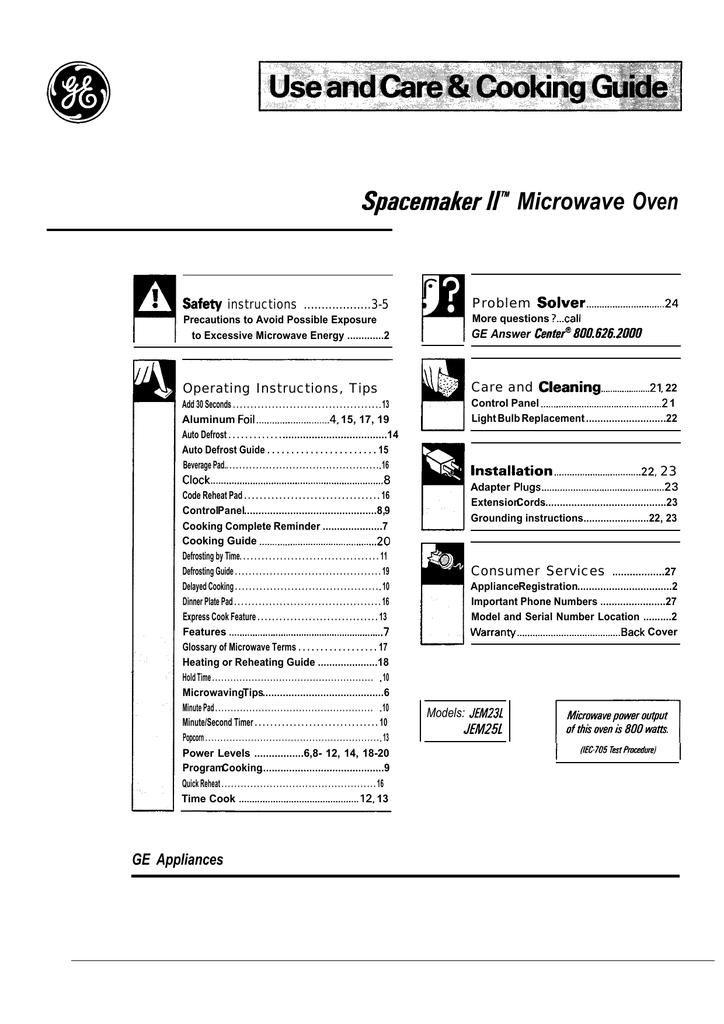 GE JEM23L User's Manual | manualzz com