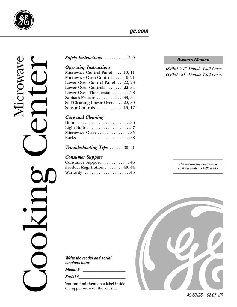 Ge Jkp9027 User Manual Manualzz