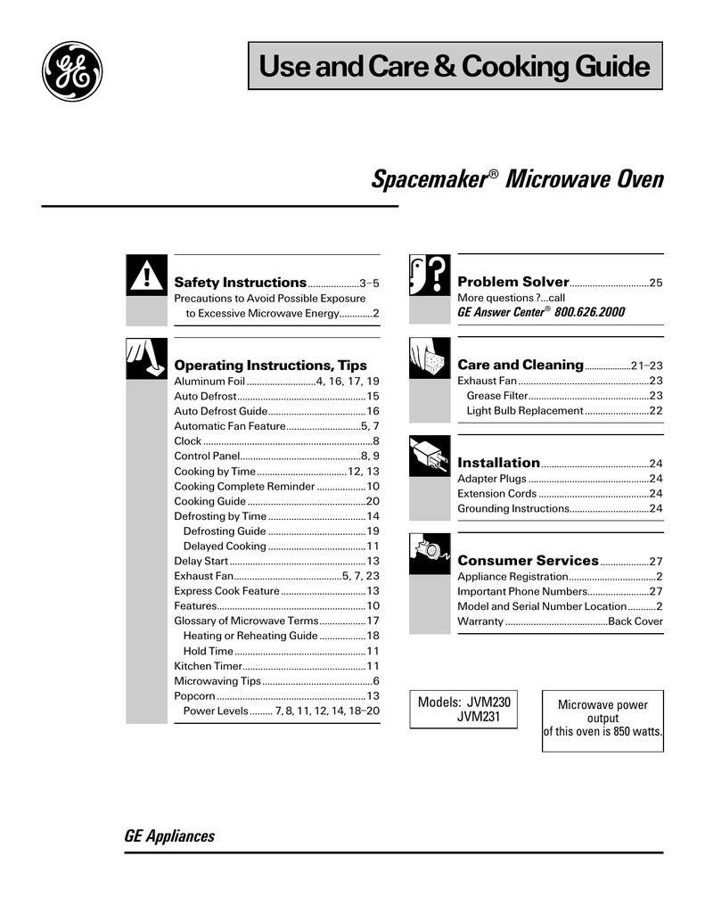 GE Spacemaker JVM231 User's Manual   manualzz com