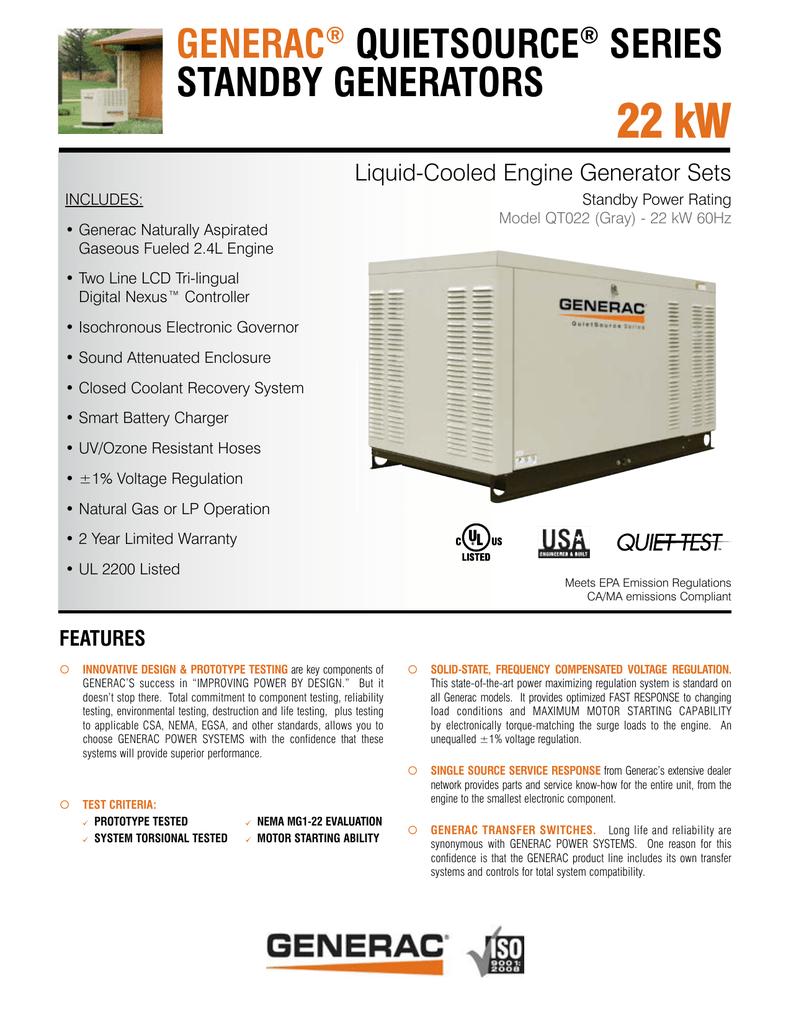 Generac QT022 User's Manual   manualzz com