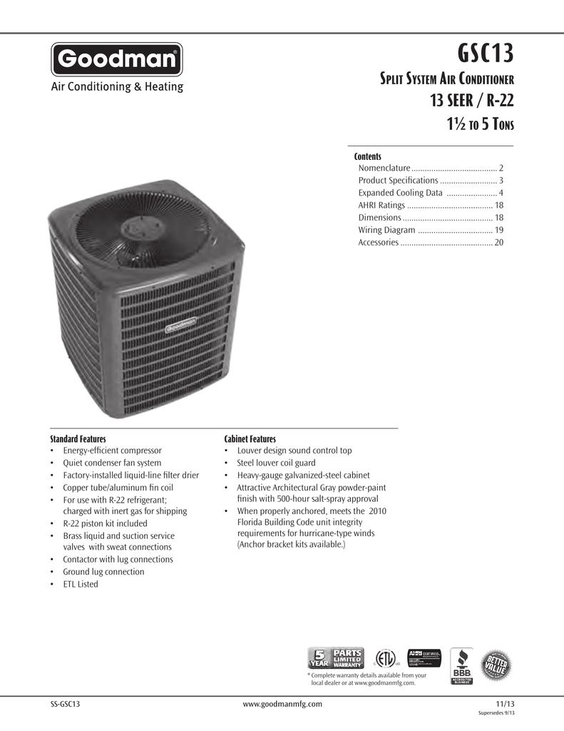 Goodman Mfg Gsc13 Users Manual 2 Ton Heat Kit Wiring Diagram