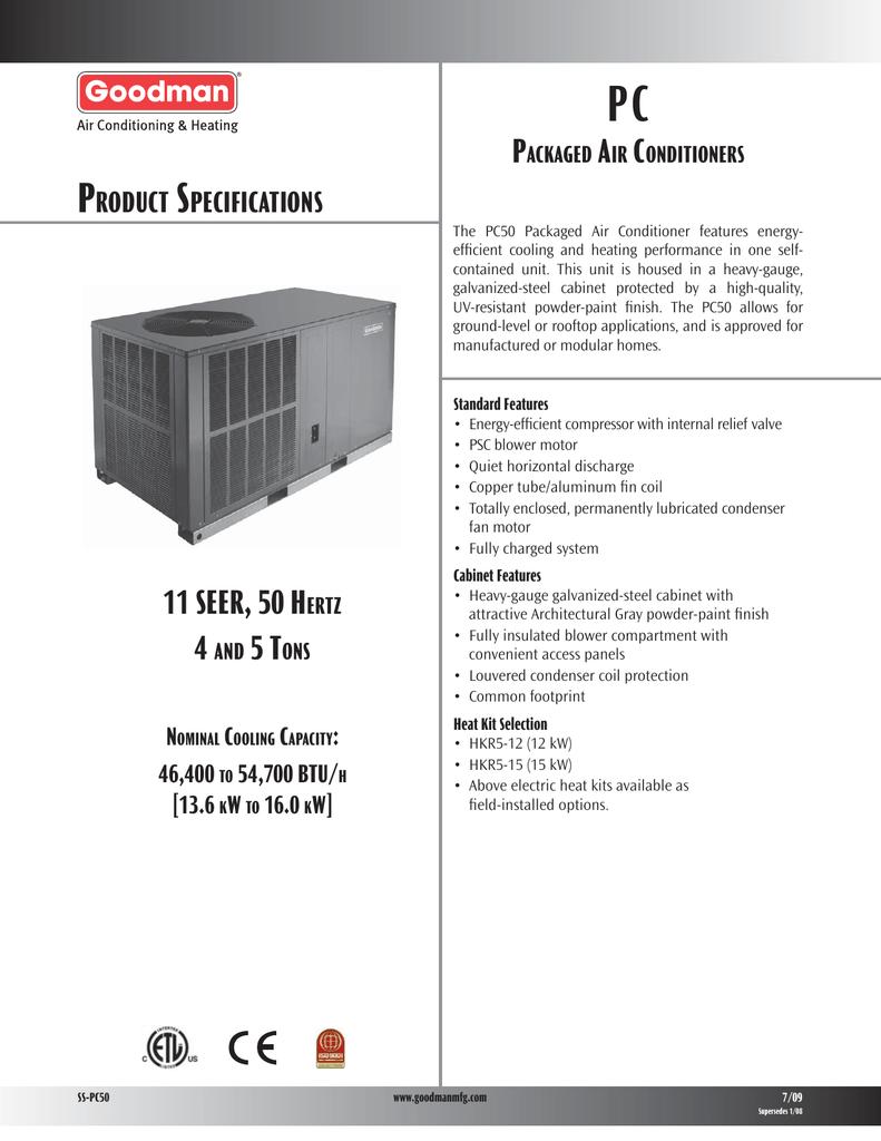 Goodman Mfg Pc50 Users Manual 2 Ton Heat Kit Wiring Diagram