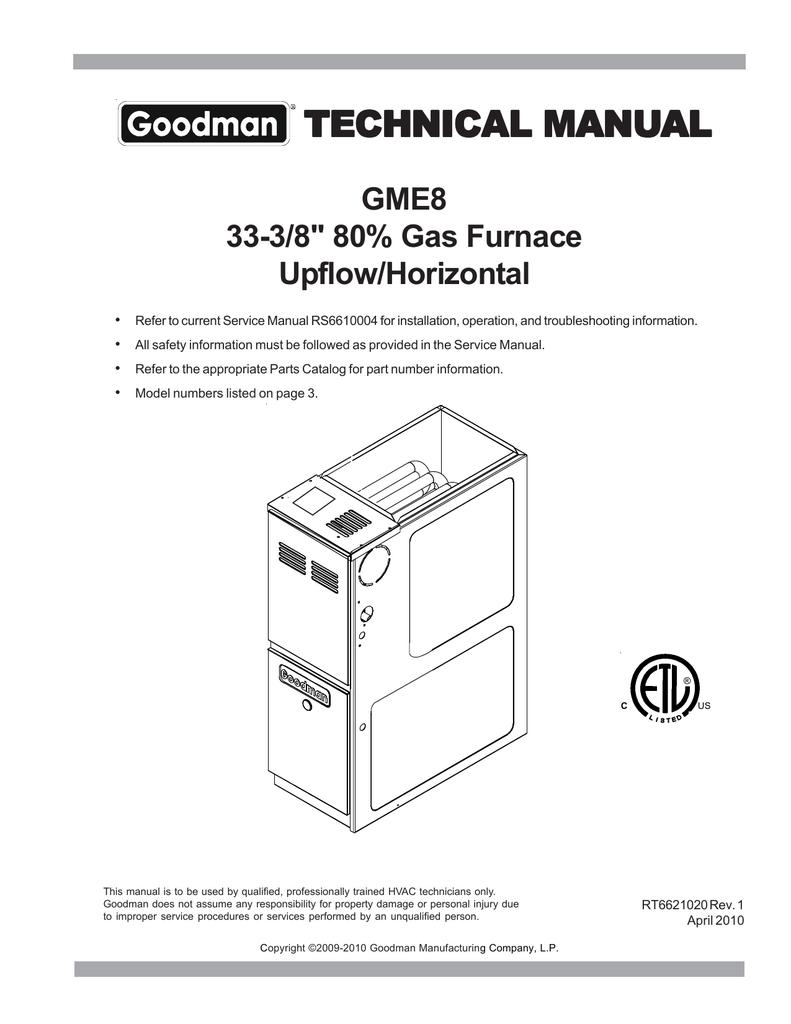 Goodman Mfg UPFLOW/HORIZONTAL GME8 User's Manual | manualzz.com on
