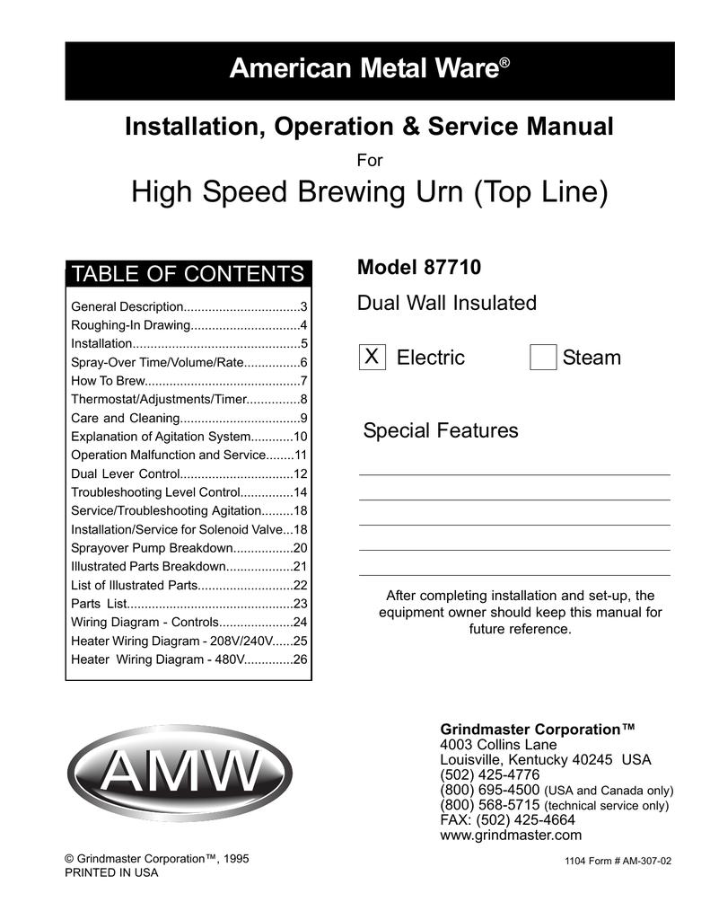 Grindmaster American Metal Ware 87710 Users Manual 480v Timer Wiring Diagram