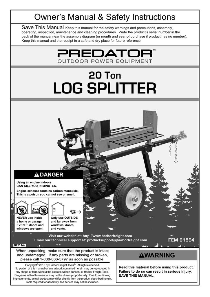 Harbor Freight Tools 20 ton Log Splitter Product manual
