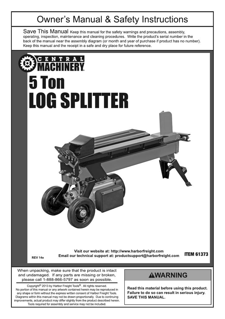 harbor freight tools 5 ton log splitter product manual manualzz com rh manualzz com Log Splitter Plans Home Depot Log Splitter