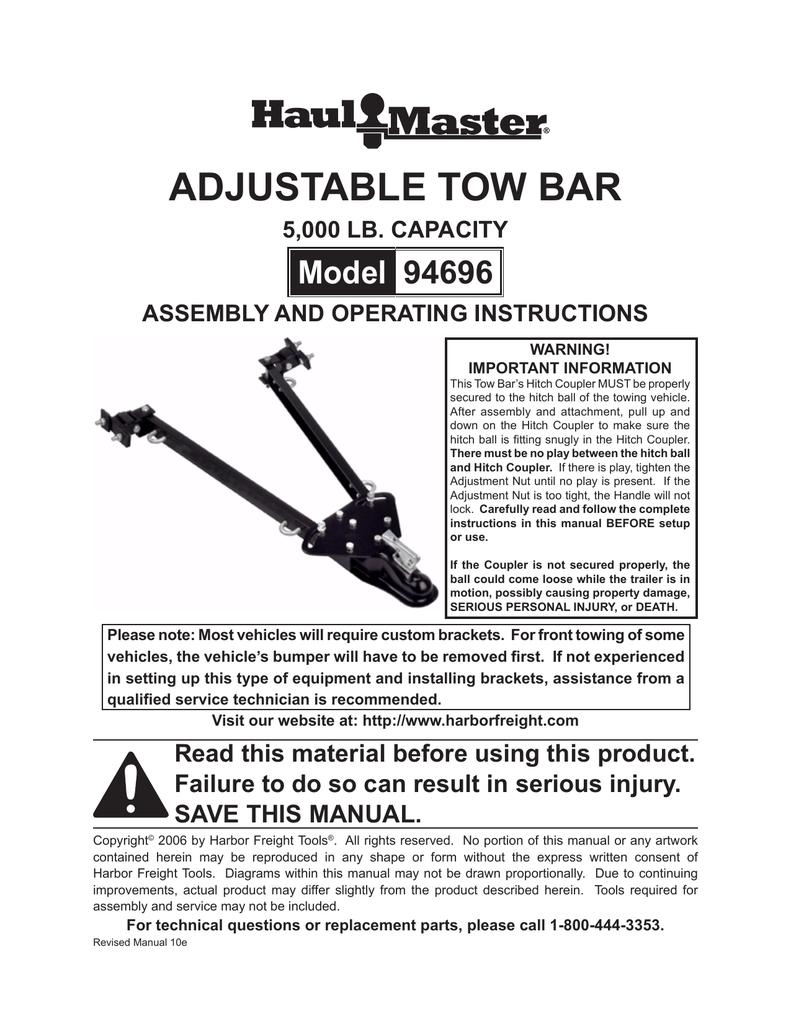 Harbor Freight Tools 5000 lb  Capacity Adjustable Tow Bar