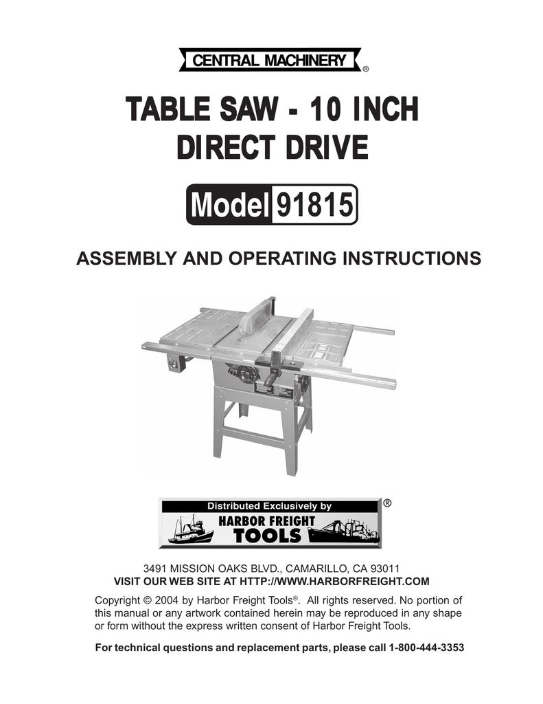 Harbor Freight Tools 91815 User's Manual | manualzz com