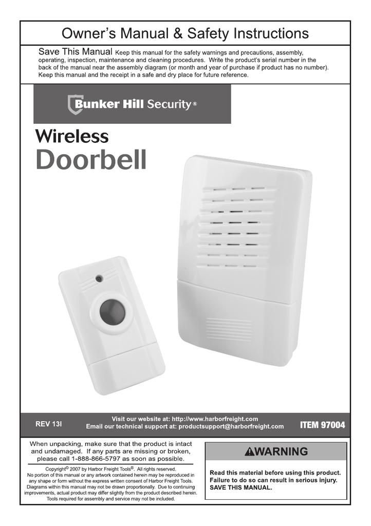 Harbor Freight Tools Wireless Doorbell Product Manual Manualzz