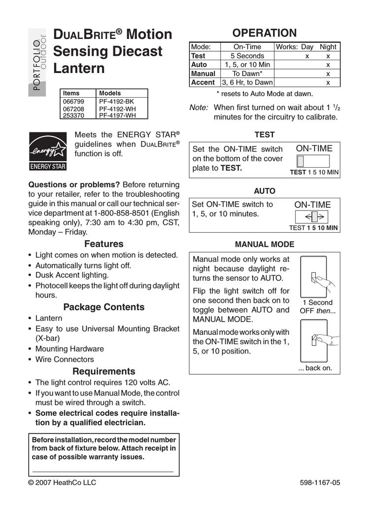 Heath Zenith Dualbrite Pf 4192 Bk User Manual Manualzz