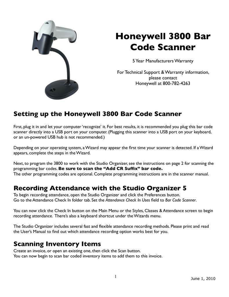 Honeywell Barcode Reader 3800 User's Manual | manualzz com