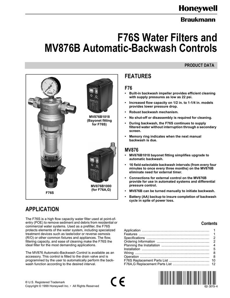 Honeywell MV876B1018 F76S User's Manual   manualzz com