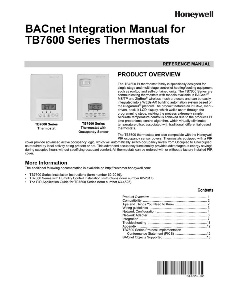 honeywell tb7600 user's manual bacnet integration