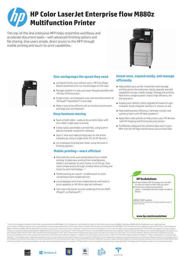 HP M880z User's Manual | manualzz com