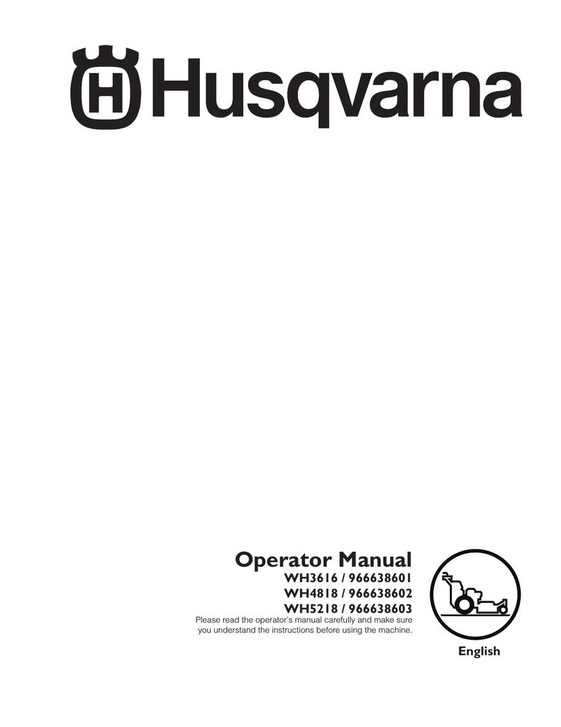 Husqvarna WH3616 User's Manual | manualzz com