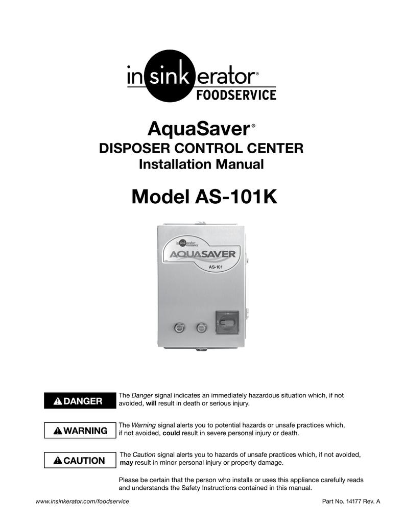 InSinkErator AQUASAVER AS-101K User's Manual | manualzz com
