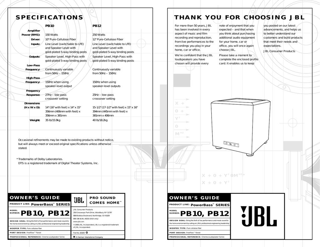 JBL PB10 User's Manual | manualzz com