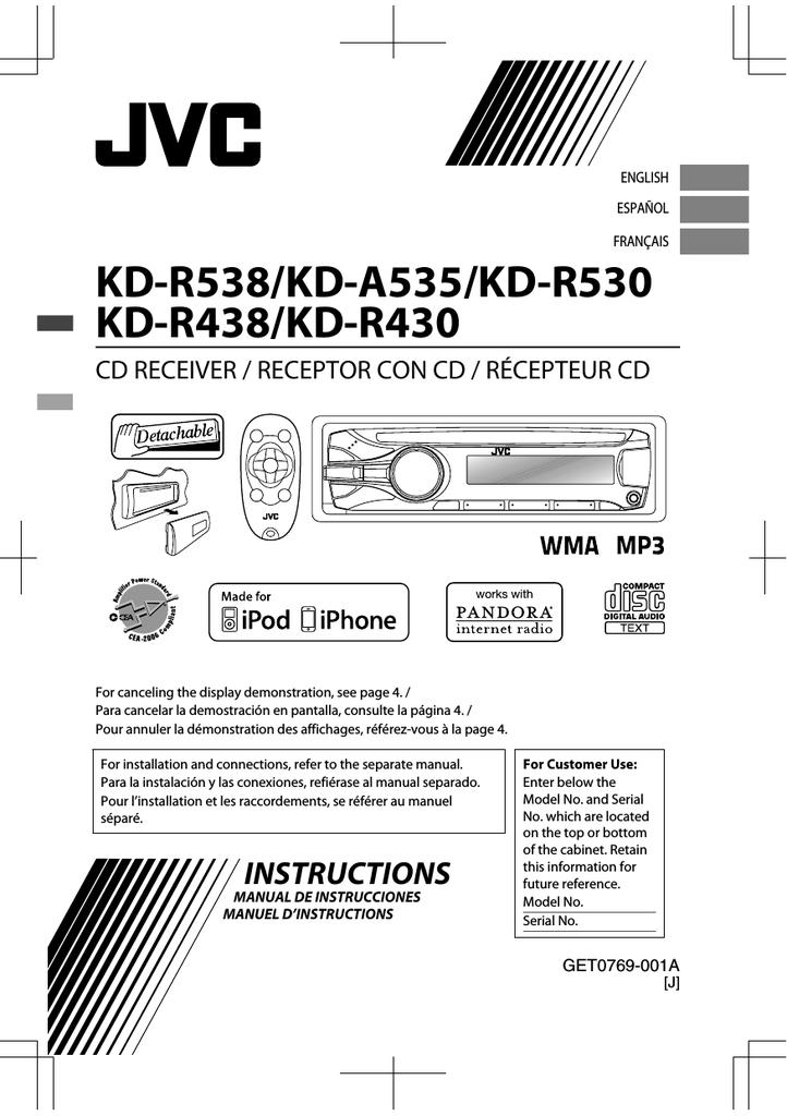 JVC KD-A535 User's Manual | manualzz.com on jvc kw-r800bt, jvc kd-r, jvc car radio pandora, jvc radio back, jvc kd s29 change color, jvc kd-r520, jvc kd-x50bt, jvc kw-r500,