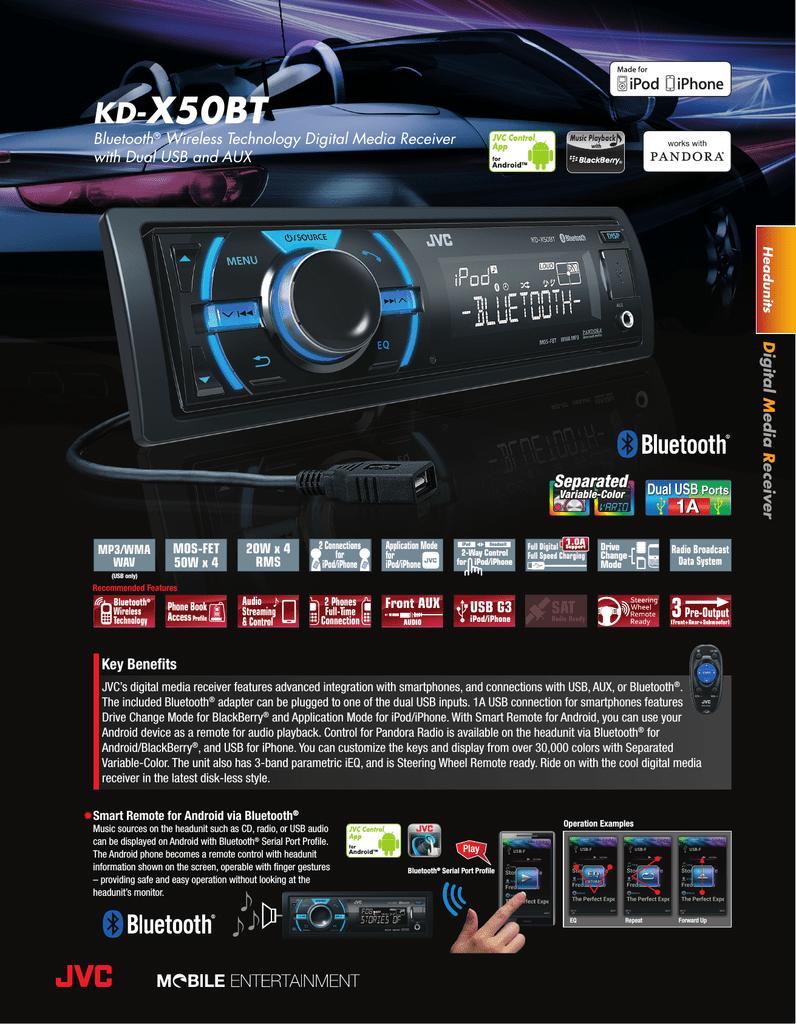 JVC KD-X50BT Specification Sheet   manualzz com