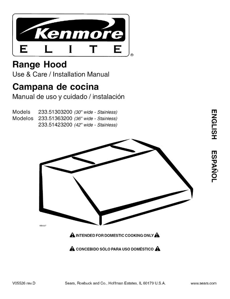 Kenmore Elite 30 Professional Style Range Hood Shell 51303 Guia De Instalacion Manualzz