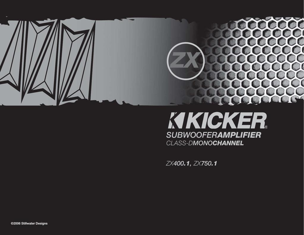 kicker zx400 1 user's manual