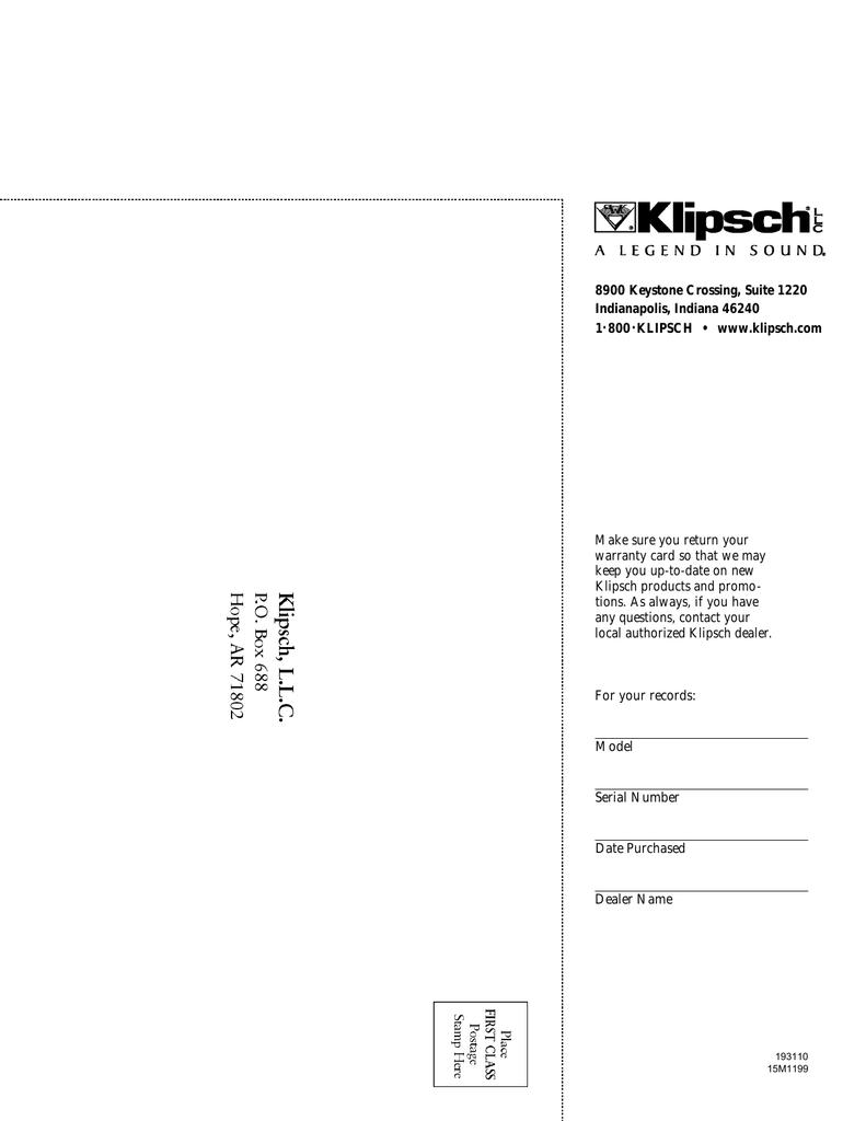 Klipsch Speaker Sb 3 Users Manual Manualzzcom