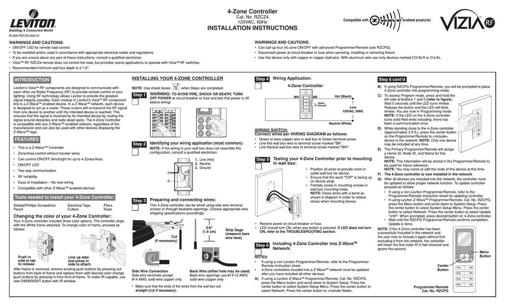 Leviton RZCZ1 User's Manual | manualzz com
