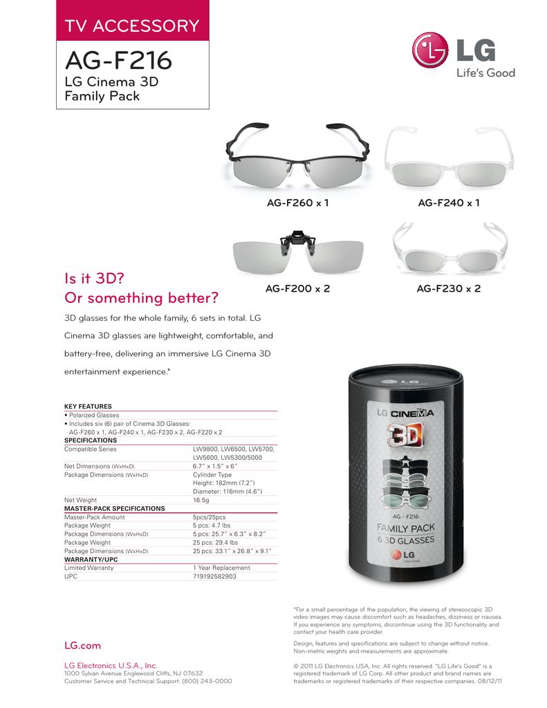 LG 3D CINEMA GLASSES AG-F220 1 pack