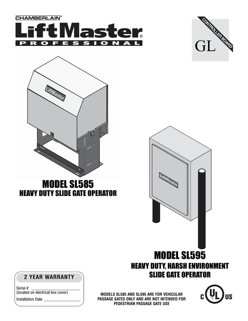LiftMaster SL585 User's Manual   manualzz com