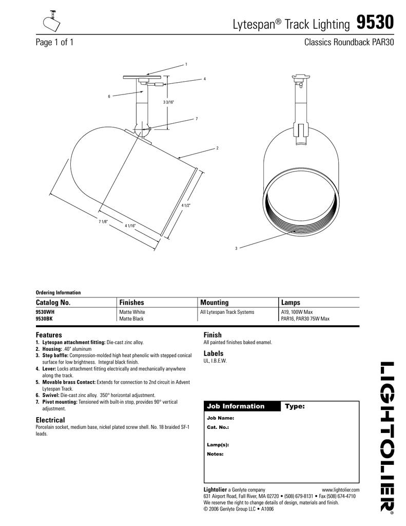 Lightolier Lytespan Track Lighting 9530