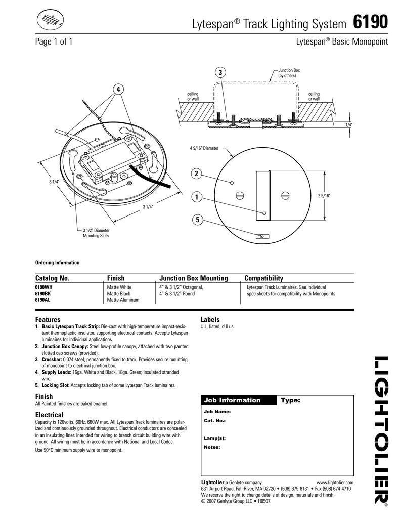 Lightolier Lytespan Track Lighting System 6190 User's Manual ... on