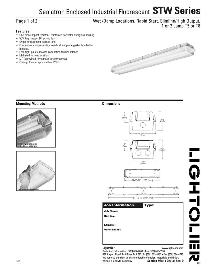 Lightolier Wiring Diagram Sealatron Enclosed Industrial Fluorescent Stw Series Rh Manualzz Com Easyset Dimmer