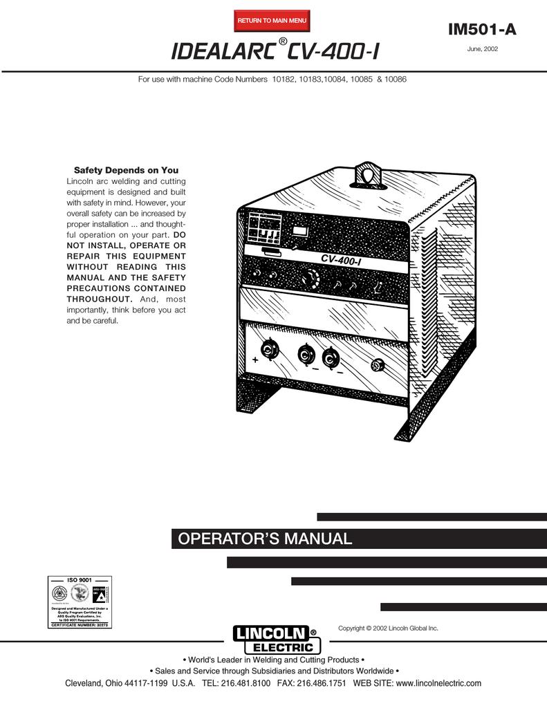 lincoln electric idealarc cv-400-i user manual | manualzz  manualzz