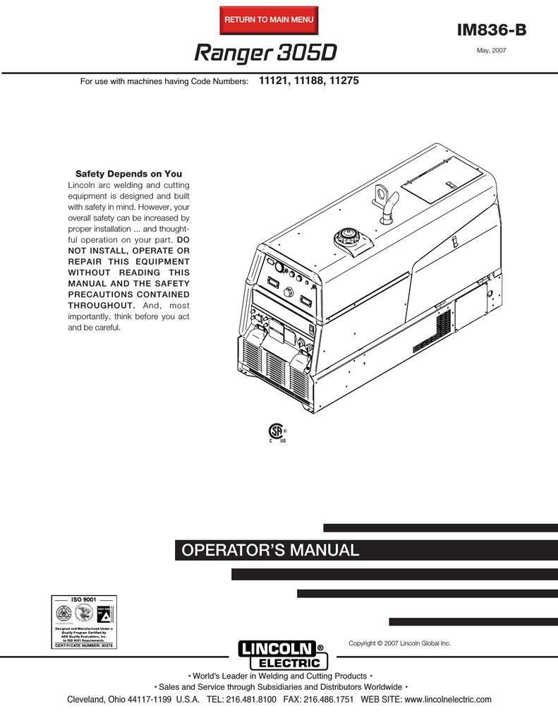 Lincoln Electric RANGER IM836-B User's Manual   Manualzzmanualzz