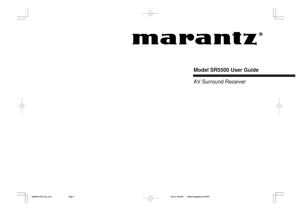 Marantz SR5500 User's Manual   manualzz.com on