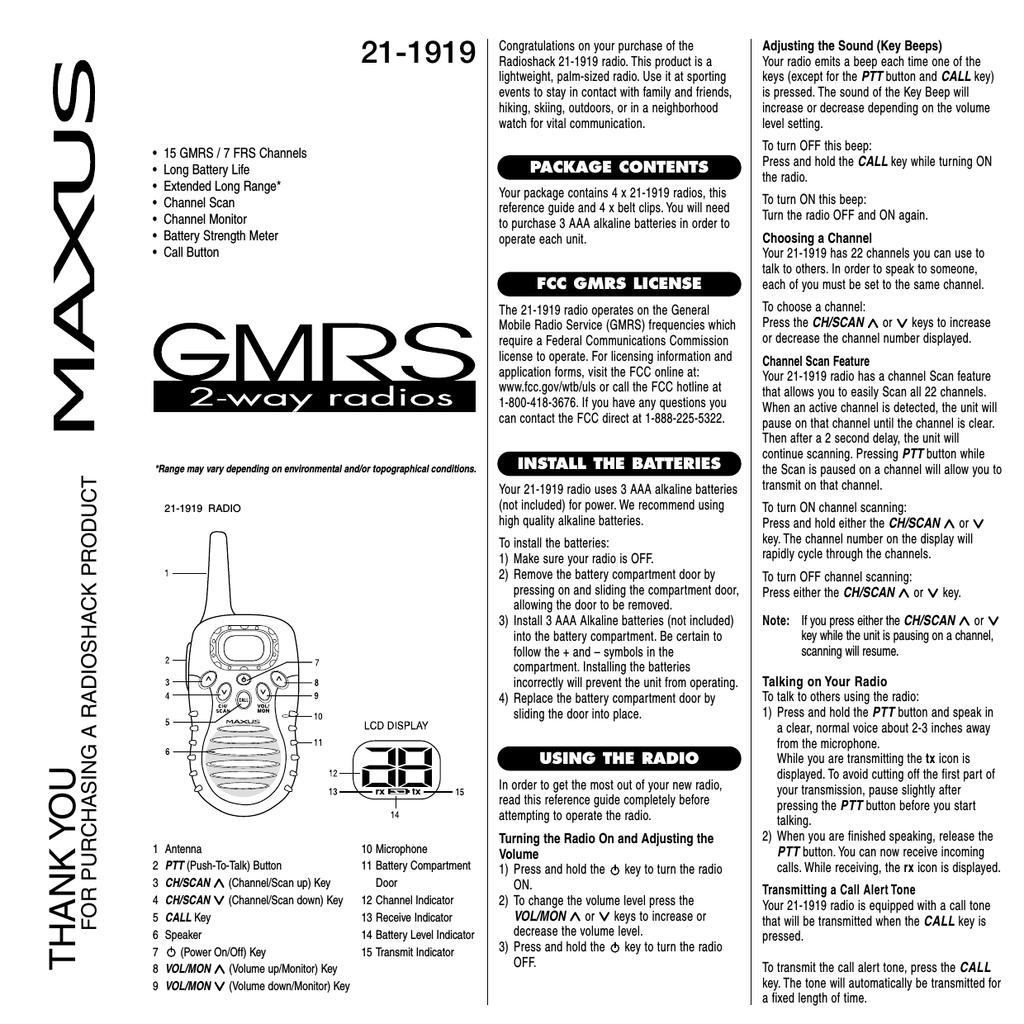 Maxus 21-1919 User's Manual | manualzz com