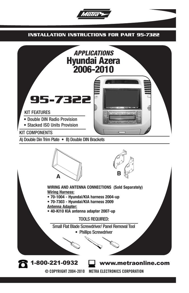 Metra 95-7322 Double DIN Installation Kit for 2006 Hyundai Azera Vehicles Black