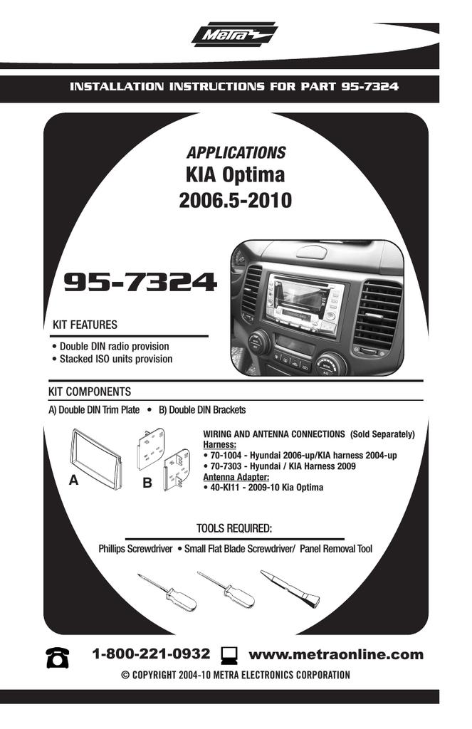 Black Metra 95-7324 Double DIN Installation Kit for 2006-up Kia Optima Vehicles