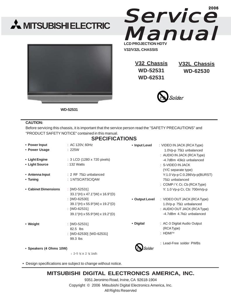 Mitsubishi WD-52531 132 Watt TV Lamp Replacement