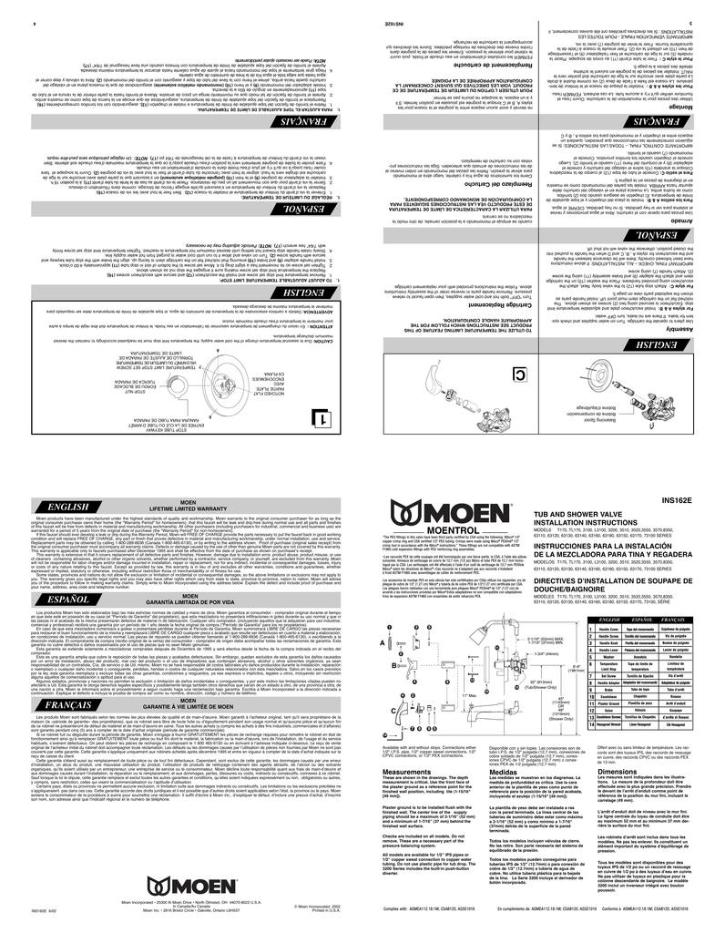 Moen Ins162e User Manual Manualzz Com