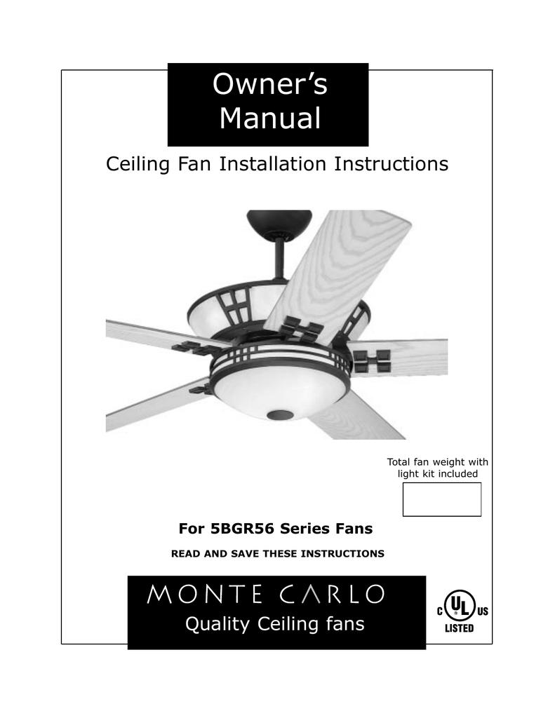 Monte Carlo Fan Company 5bgr56 Series User Manual Manualzz