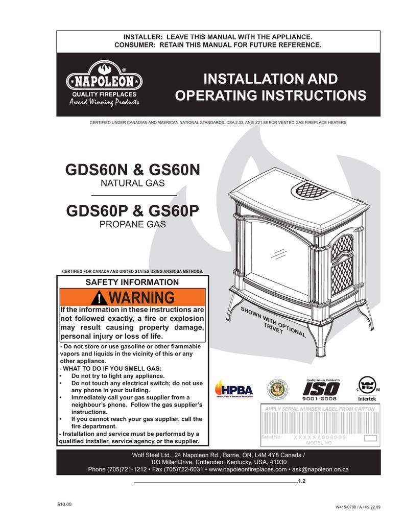 Napoleon Fireplaces GDS60N User's Manual | manualzz.com on