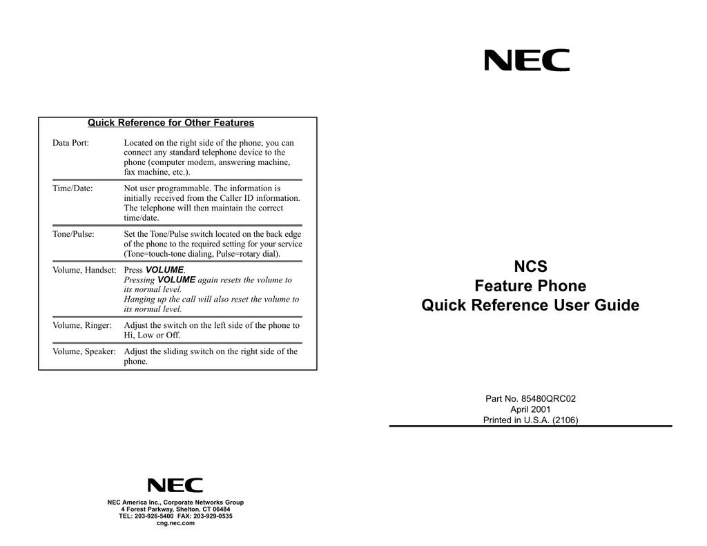 NEC 85480QRO02 User's Manual | manualzz com