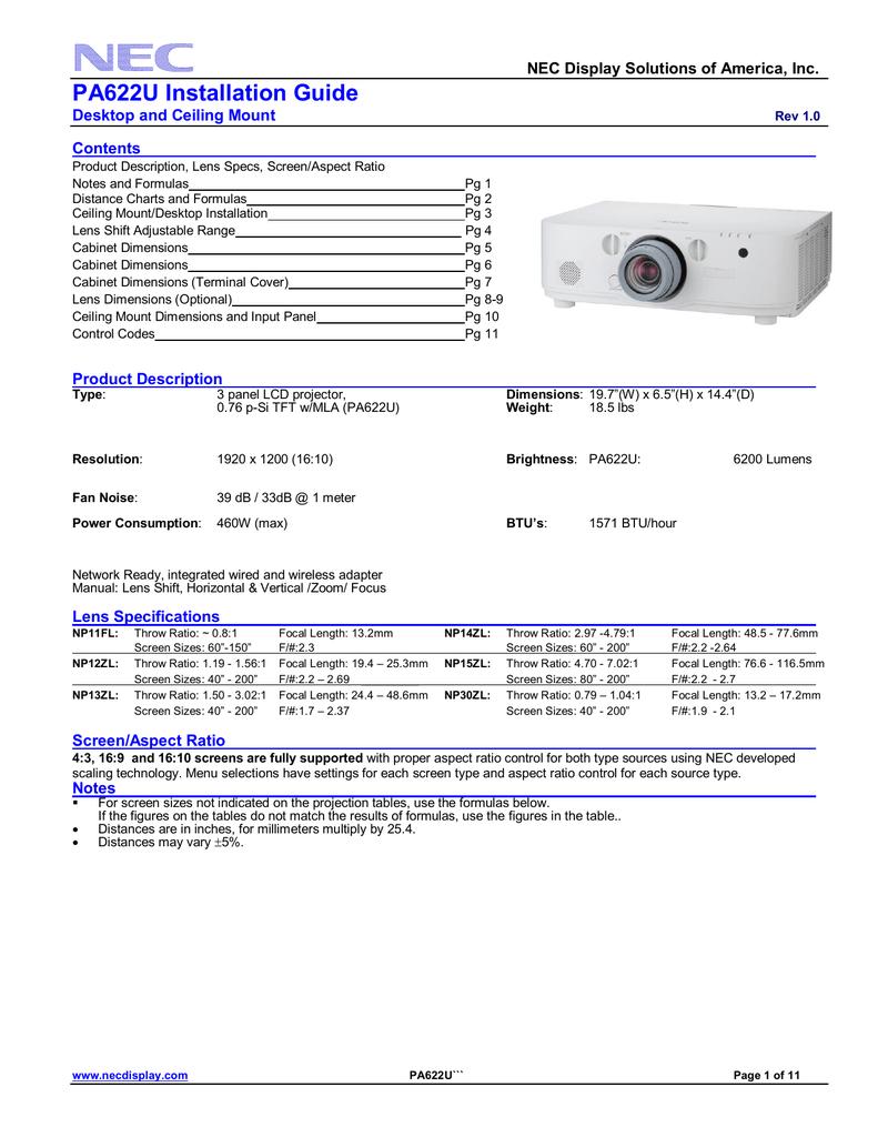 NEC NP-PA622U Installation and Setup Guide | manualzz com