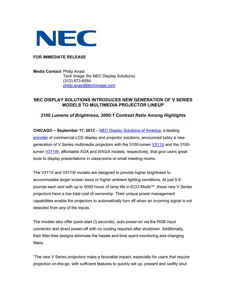 NEC NP-V311W User's Information Guide | manualzz com