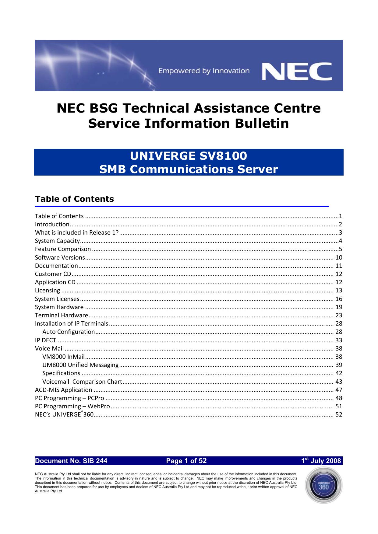 NEC UNIVERGE SV8100 User's Manual | manualzz com