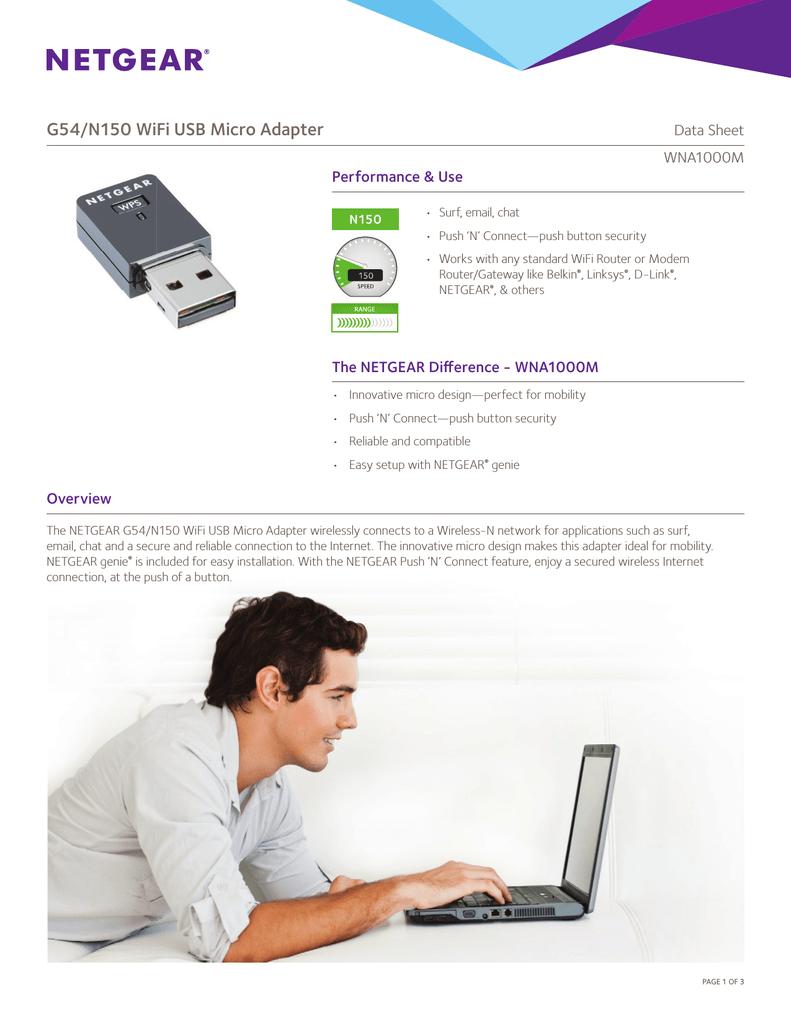 Netgear WNA1000Mv2 Data Sheet | manualzz com