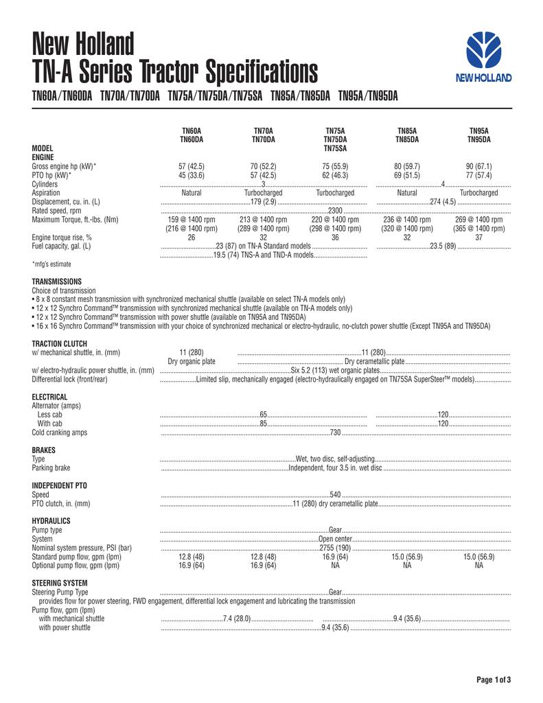 New Holland TN60A User's Manual | manualzz com